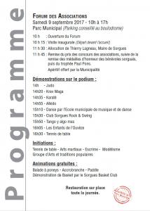 Programme Forum des assos Sorgues