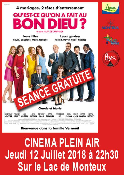 Jeudi 12 Juillet, Cinéma Plein Air au Lac de Monteux.Venez nombreux cest gratuit